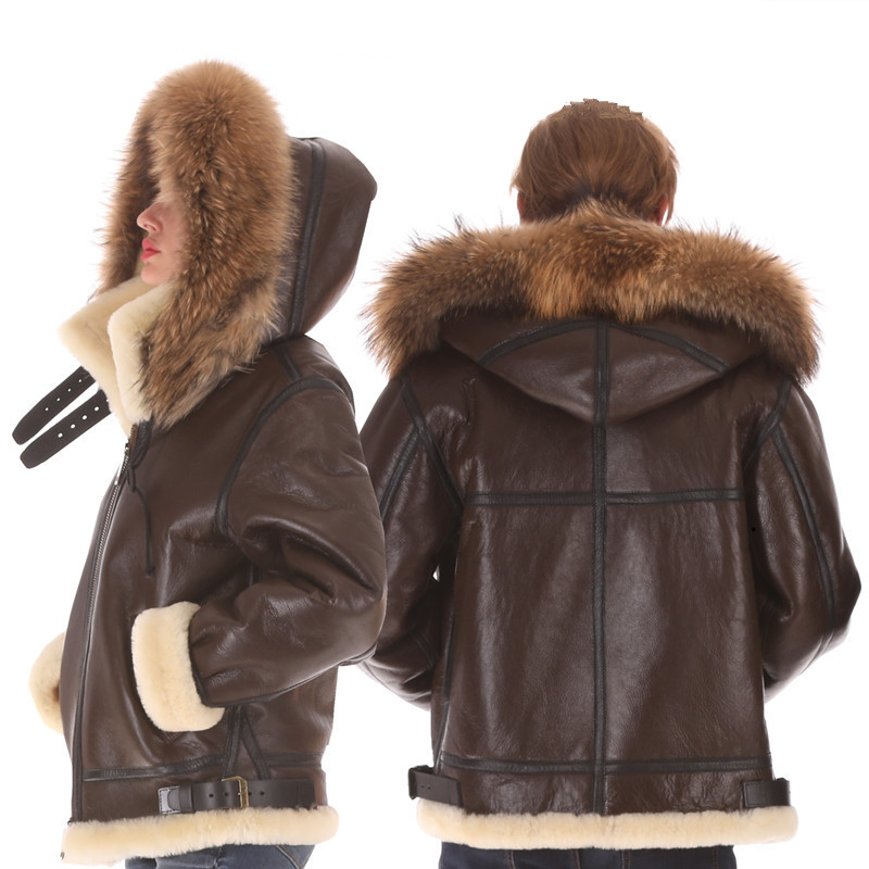 B3 Shearling Hat Bomber Fur Military Pilot World II Flying Aviation Air Leather Jacket Environmental Protection Of Leather MAN