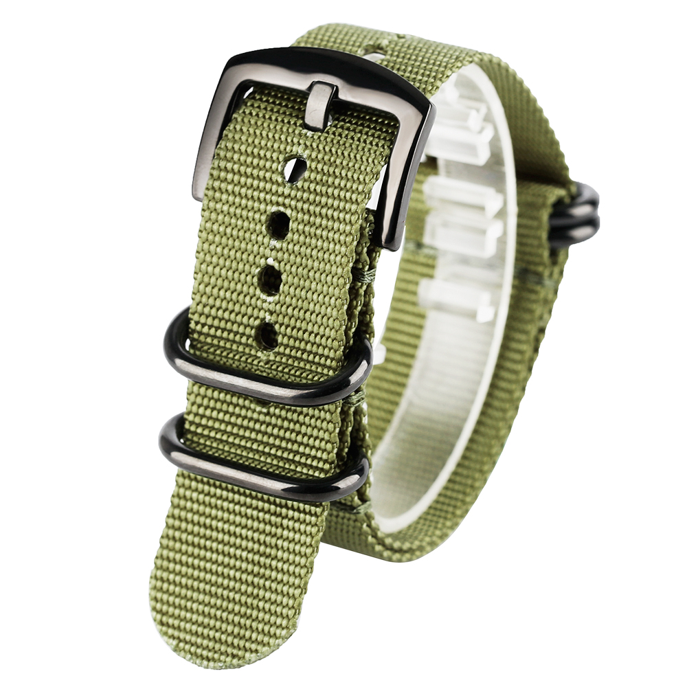 Replacement Nylon Soft 20mm/22mm/24mm High Quality Black/Army Green Sport Watch Strap Band Bracelet Outdoor Military survival nylon bracelet brown
