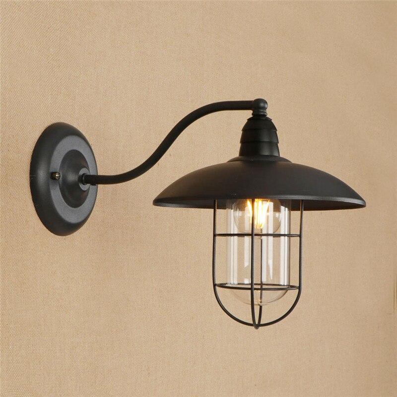 Işıklar ve Aydınlatma'ten Duvar Lambaları'de Loft Tarzı Endüstriyel Vintage Duvar Lambası Yaratıcı Edison Duvar Aplik Demir cam duvar lambası Armatürleri iç mekan aydınlatması Lamparas