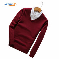Covrlge 2017 Men S Sweaters Fake Two Pieces Solid Color V Neck Autumn Winter Christmas Sweater