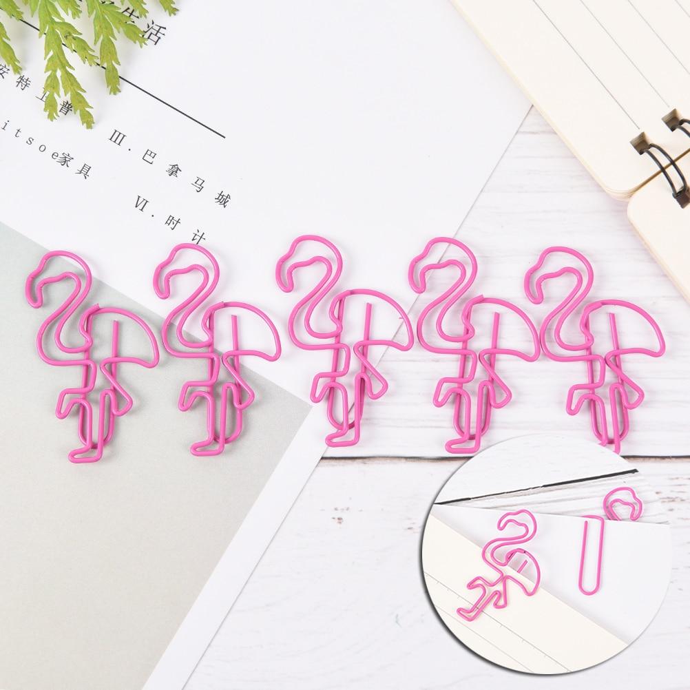 5PCS/LOT Flamingos Pineapple Shape Paper Clips Funny Kawaii Bookmark Office School Stationery Marking Clips