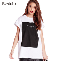RichLuLu Letter Print Contrast Color Women T Shirts O Neck Short Sleeve Female Tees Casual Loose