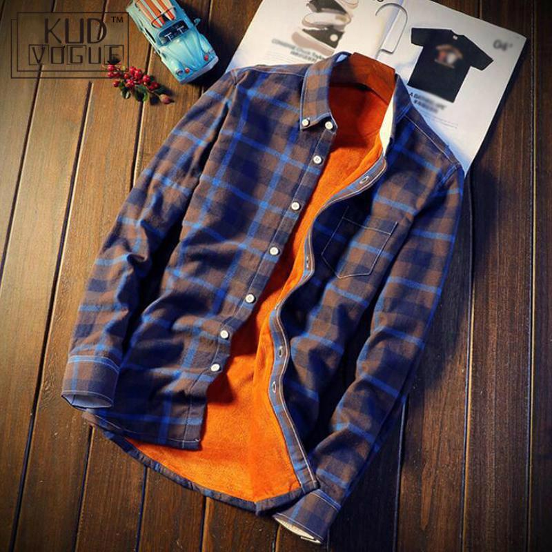 Shirt Men Plaid Flannel Shirts Mens Casual Autumn Winter Spring Thick Warm Fleece Cotton Long Sleeve Shirt 5XL Korean Men 4829