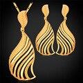 Joyería de la manera Para Las Mujeres Nuevos Pendientes de Gota Colgante de Collar de La Joyería Plateada Oro Sets PE992