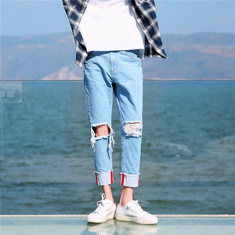 Blue Jeans 2018 Summer New Fashion Nine Part Holes Korean Trend Bound Feet Pants Joker Leisure Self-cultivation Free shipping