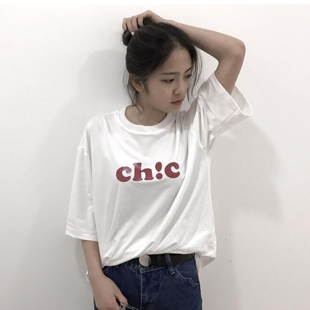 2017 New Summer Clothes Short Sleeve Solid White Chic Letters Print Casual  Street Style Camiseta Mujer T-shirt Harajuku Top 8861ac77e2f4