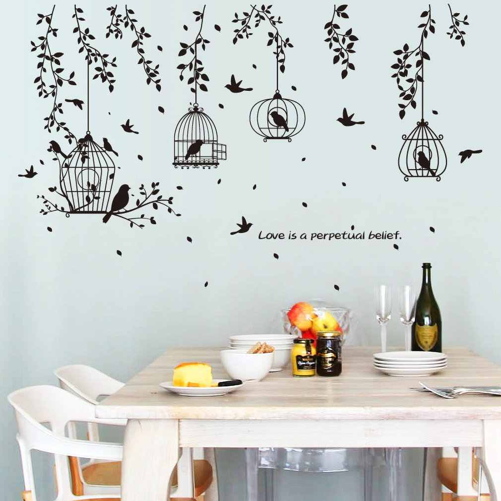 Creative Black Bird Cage Leaf Silhouette Sofa Restaurant Bedside Corner Tv Decoration Background Wall Stickers Mural