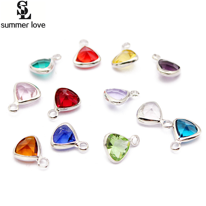 Triangle shape transparent glass crystal birthstone charms for Birthstone beads for jewelry making