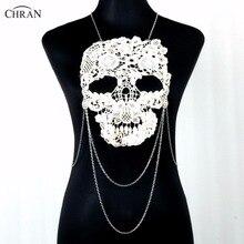 Chran Hand Dyed Black Skeleton Lace Choker White Detachable Tattoo Collar Necklace Sexy Bone Skull Beach Chain Costume Jewelry