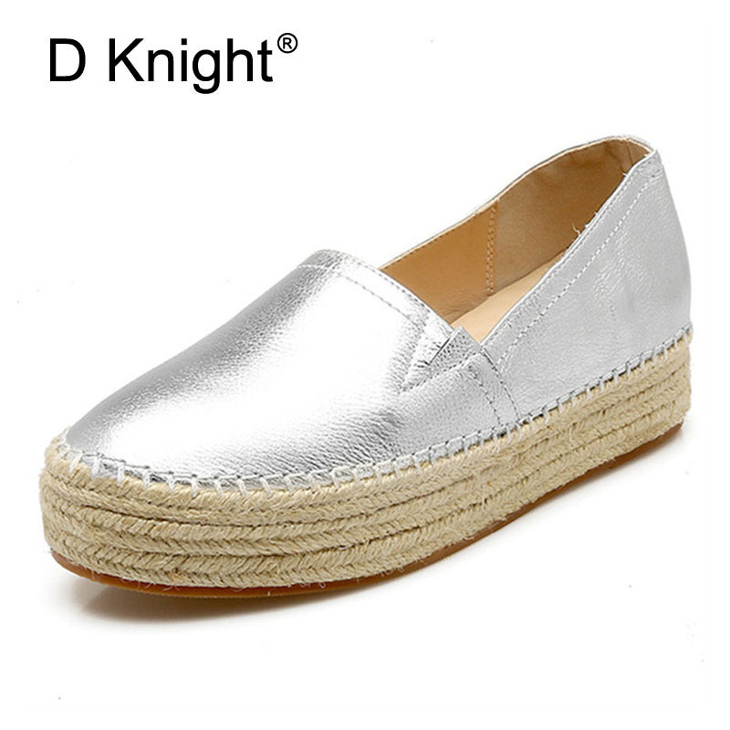 Real Genuine Leather Casual Woman Loafers Wholesale New Popular Round Toe Flats Women's Silver Gold Platform Creeper Shoes