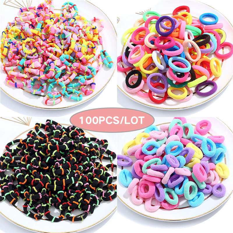 100 Pcs/lot Kids Elastic Hair Bands Girls Children Hair Rope Hair Accessories Scrunchy  Headbands Rubber Band Gum For Hair