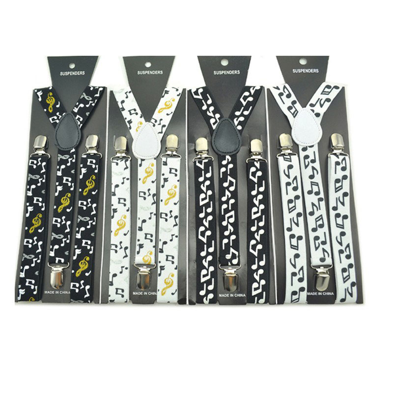 Winfox Vintage Black White Mens Trouser Suspenders Male Women 2.5cm Wide Music Note Print Braces Elastic Suspenders Suspensori