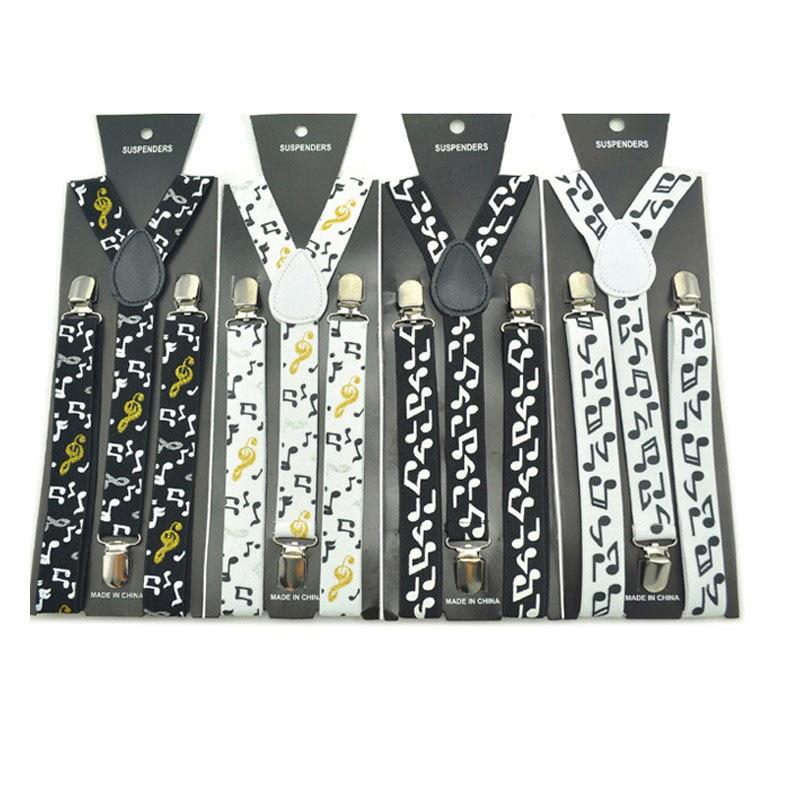 Winfox Vintage Black White Mens Trouser Suspenders Male Women 2.5cm Wide Music Note Print Braces Elastic Suspenders Suspensori