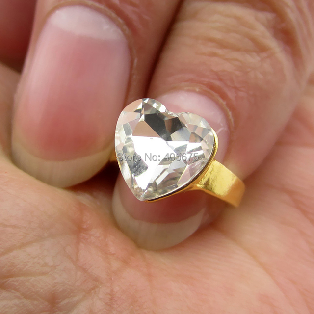 5pcs Crystal Glitter heart alloy 2015 new nail decorations rings ...