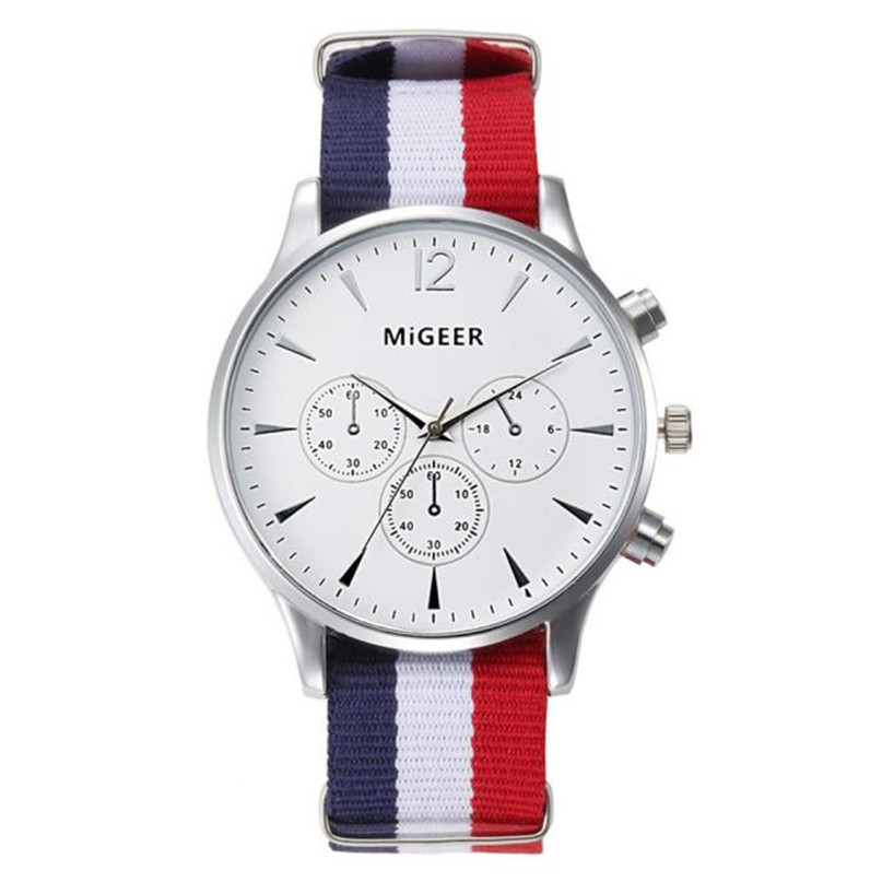 MIGEER men watches Luxury Brand high quality Fashion Canvas Mens boys Analog Watch Wrist Watches Relogio Masculino migeer retro design leather band wrist watches mens fashion black dial business style analog quartz watch relogio masculino lh