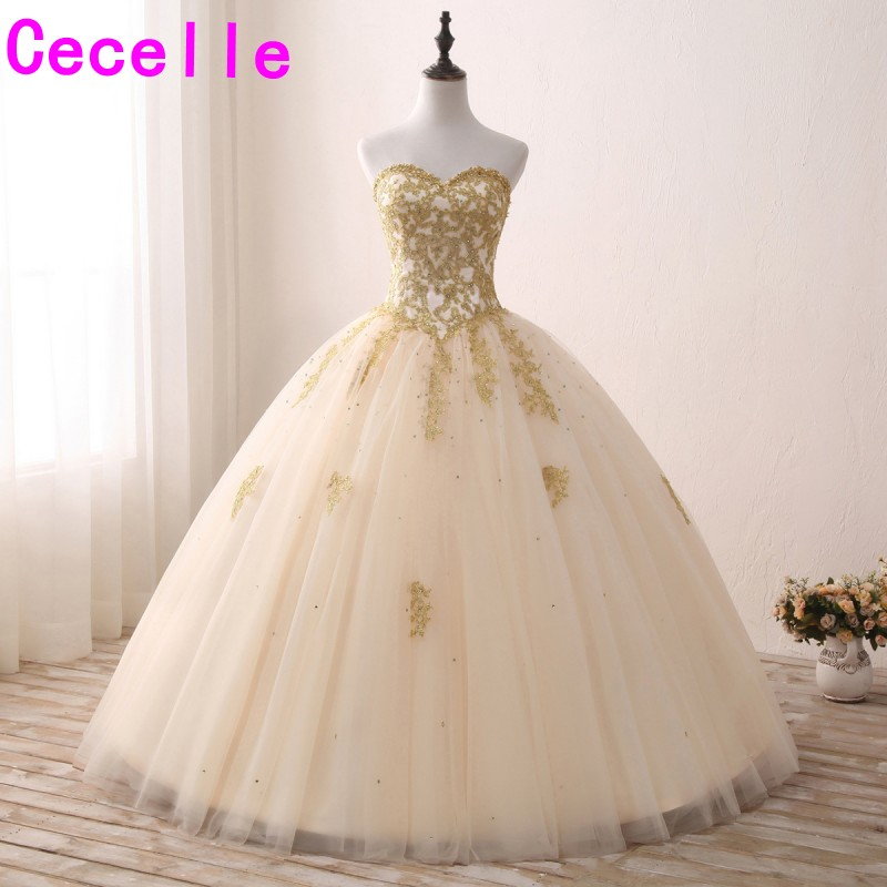 Champagne Gold Lace Appliques Ball Gown Prom Dresses Sweetheart