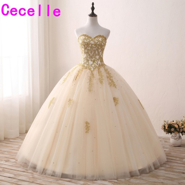 e77c1164fccb5 Champagne Gold Lace Appliques Ball Gown Prom Dresses Sweetheart Corset Back Floor  Length Teend Princess Prom Gowns Custom Made