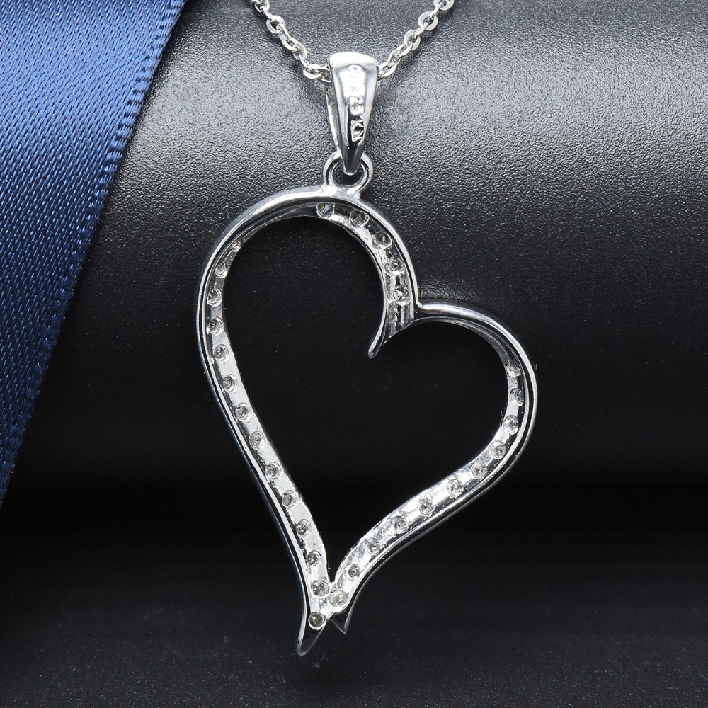 Hutang Heart Shape Genuine 925 Sterling Silver Pendant Necklace Cubic Zirconia Wedding Fine Jewelry for Women Girlfriend