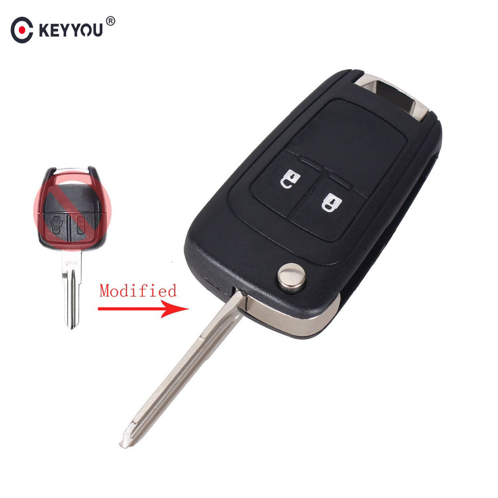 KEYYOU 10X Modified Flip Folding Car Blank Key Shell For Chevrolet Aveo 2 Buttons Remote Case Fob Car-Styling Right Blade