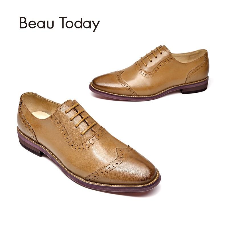 цена на BeauToday Brogue Shoes Women Genuine Leather Round Toe Good Quality Sheepskin Lady Flats Wingtip Shoes Handmade 21409