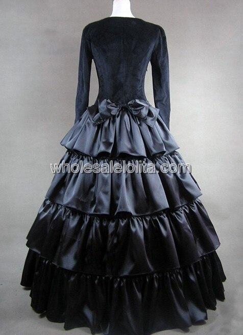 Черное многослойное платье в готическом стиле с бантом
