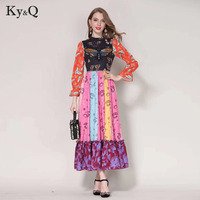 High Quality Floral Print Long Dress Women Summer Luxury Butterfly Sequin Stripe Patchwork Runway Maxi Dresses