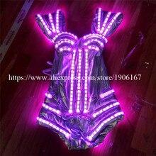 RGB подсветкой световой подсветкой Леди вечернее платье светящиеся Мигает сексуальный бюстгальтер Костюмы для бальных танцев костюм Dance певица этап Показать одежду
