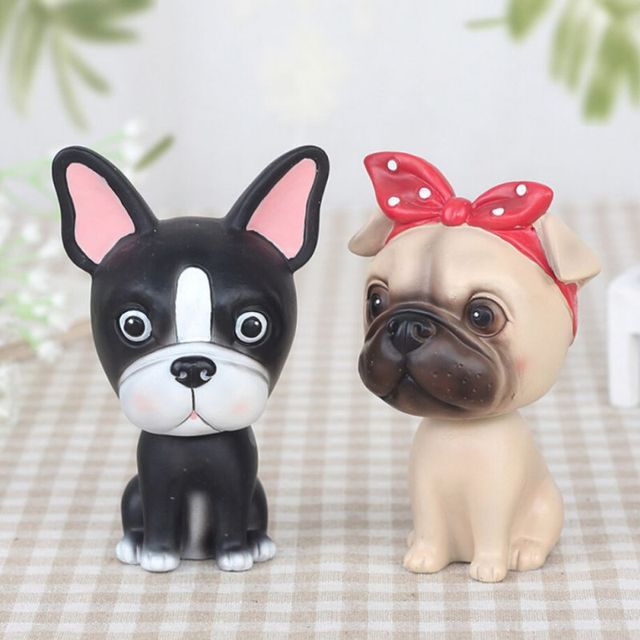 Cute Dog Shaking Head Ornaments Home Garden Decoration Crafts Cute Animal Shape Figurines Miniatures Garden ,Decoration 1