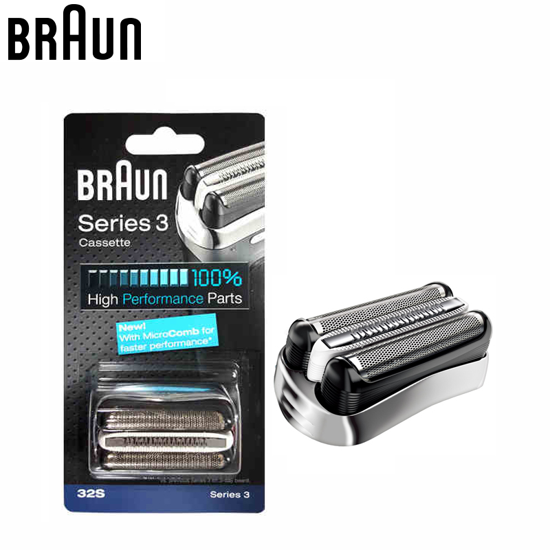 Braun 32S Series 3 Shaver razor Foil Cutter Head Replacement blade with Microcomb(320 330 340 350CC 360 370 380 390CC 395cc) braun electric shavers series 3 3000s rechargeable microcomb technolodge close shaver razor blades for men high grade