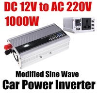 Wholesale car Power converter USB charger DC 12V to AC 220V 1000W Modified Sine Wave USB charger