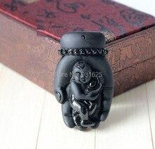 Hermosa Joyería de moda Natural Negro Obsidiana Tallada Mano de Buda Bendición Chico Afortunado Amuleto Colgante Del Envío Collar de perlas