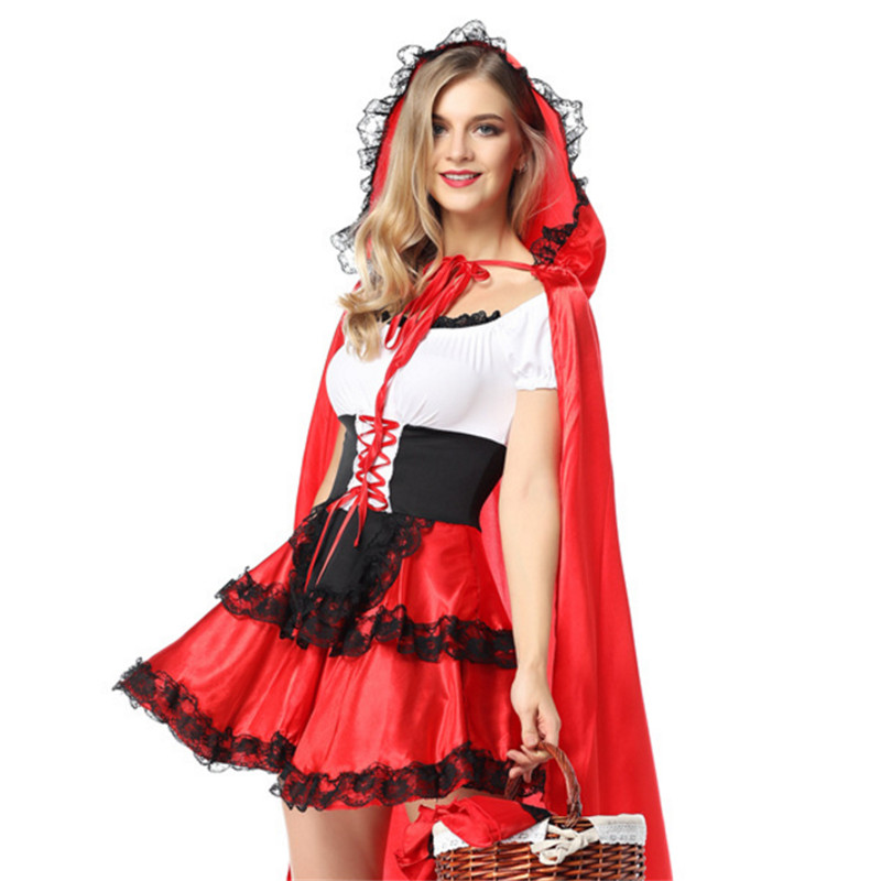 high quality sexy Little Red Riding Hood Costume Halloween Nightclub quee clothing Party plus size Adult princess Cosplay Dress