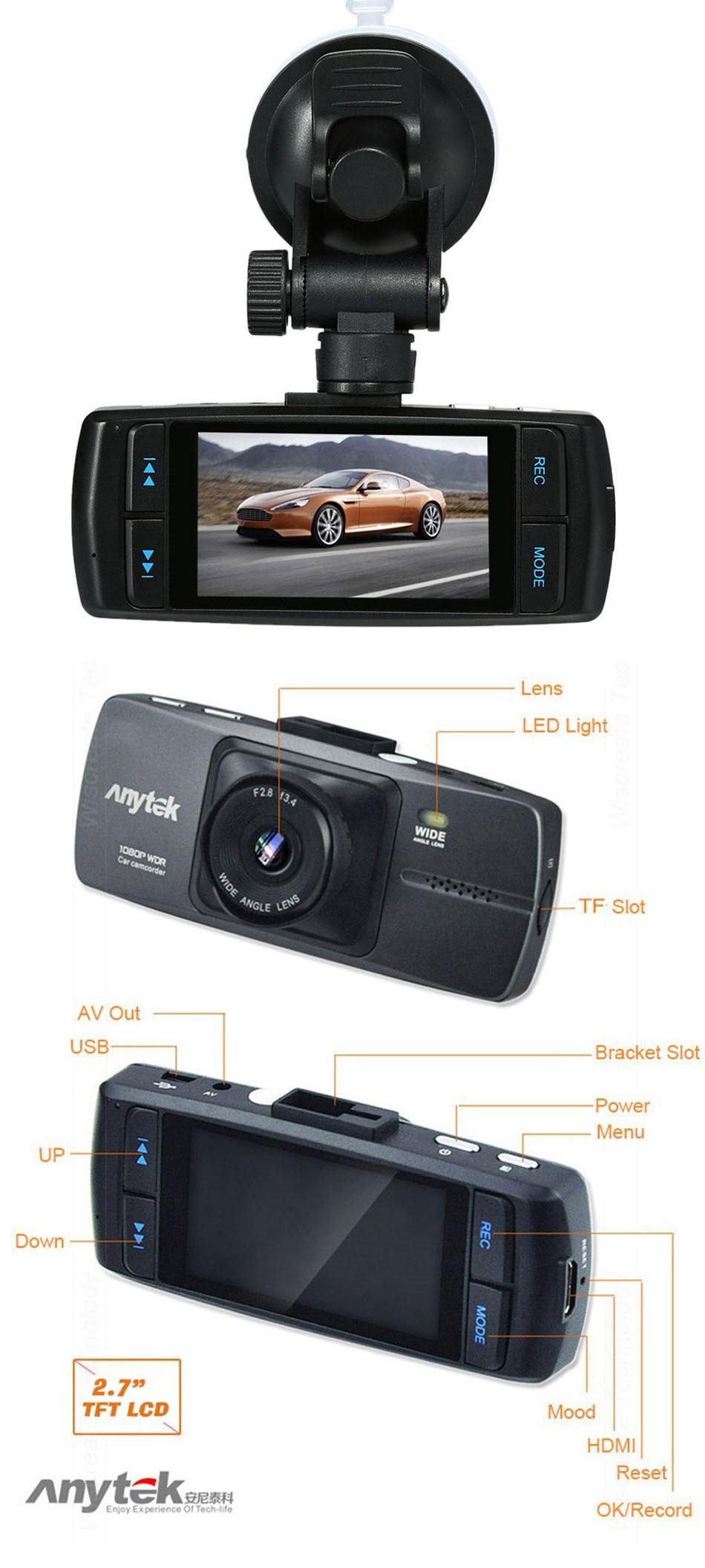 Anytek Dash Cam A88 2.7 Inch DVR Full HD 1080P Car Camera Novatek 96220 Parking Monitor Registrator Video Recorder Night Vision DVRS -03
