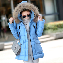 Плюс Размер XXXL зимняя куртка женщин новые зимние 2016 женщин меховой воротник карман длинный отрезок пуховик пальто сплошной цвет пальто