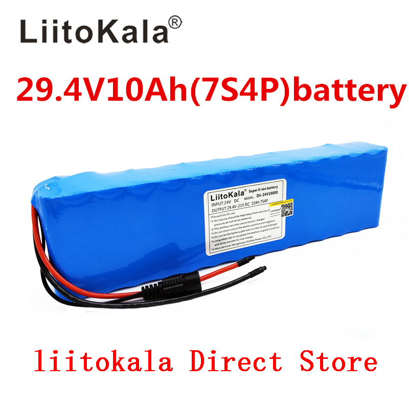 Liitokala DC 24V 10ah 18650 Battery lithium battery 29 4V Electric Bicycle moped electric lithium ion