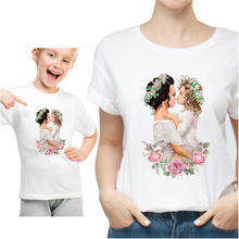 Family Matching Outfits Mom/Daughter Tshirt Parent-child Clothes Super Mom Lovely Short Sleeve Kid MOM Girl T shirt Tees,HKP3093