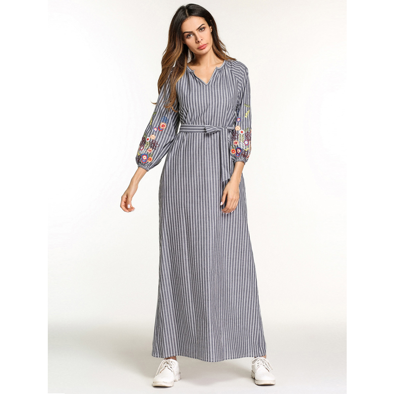 238f2c291c Vestidos 2018 UAE Kaftan Abaya Dubai Arab Women Long Linen Striped Embroidery  Muslim Hijab Dress Turkish Islamic Jurken Clothing