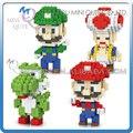 Sistema completo de Mini Qute LINKGO 4 unids/lote Anime cartoon Super Mario figuras de diamante bloque bloques de construcción de plástico juguetes educativos