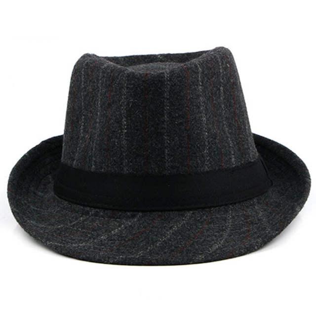 7173ebe3 placeholder FS Male Vintage Striped Felt Hat Wide Brim Jazz Gangster Hats  2018 Spring Mens Classic Ribbon