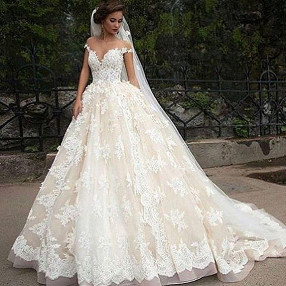 Vintage champagne Ivory Lace Appliques Wedding Dresses Short Sleeves Zipper  Elegant Simple Backless princess Wedding Dress