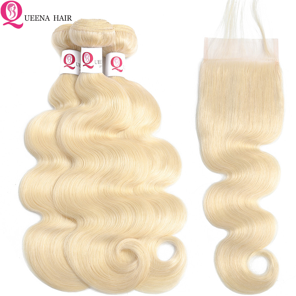 Raw Indian Hair Body Wave 613 Bundles With Closure Baby Hair Pre Colored Remy Human Hair Extensions Blonde Bundles With Closure