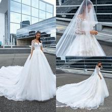 NCDIMS Crystal Long Sleeves Sweep Train Wedding Dress