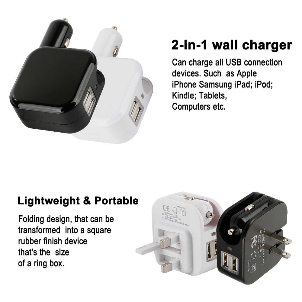 2 In1 Usb Mobil Charger Ponsel Tablet Mobil Cepat-Charger untuk iPhone X XS Dual USB Mobil Phone adaptor Charger Dinding Soket 2019