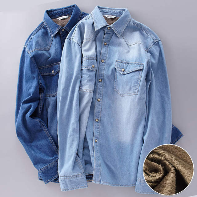 d7e045c9467 Top Quality Fashion Brand Winter Jeans Shirt Men Warm Fleece Lined Velvet  Denim Shirts 4XL Male