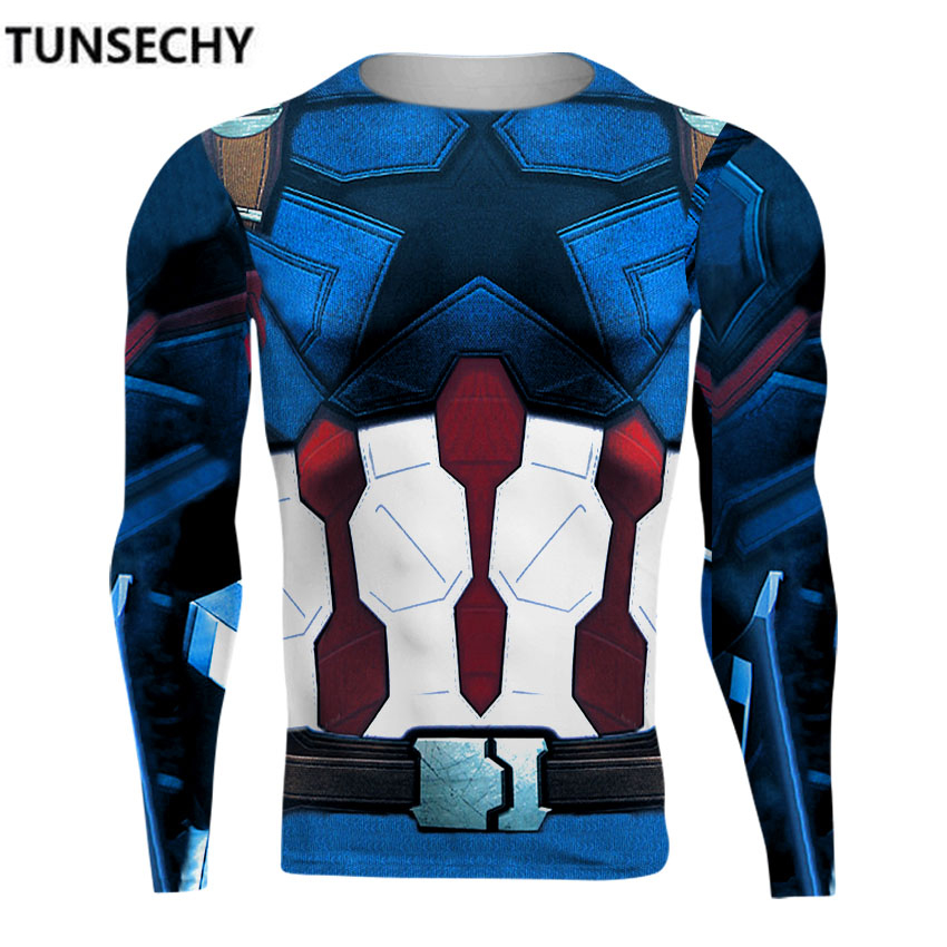 TUNSECHY Avengers 3 Captain America 3D Printed T shirts Men Compression Shirt 2018 Costume Long Sleeve Tops Male Crossfit