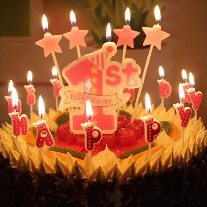 1 Uds bebé 1st cumpleaños velas para tarta de cumpleaños los niños bebé ducha partido suministros Feliz cumpleaños decoración para fiesta de bebé DIY
