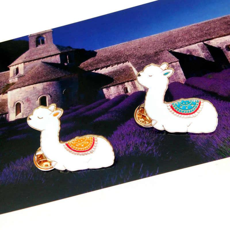 すき 1pc ラマピン Lama Glama アルパカかわいいかわいい動物ピンハードエナメルラペルピン女性の女の子バッジ