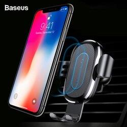 Baseus carro qi carregador sem fio para iphone 11 pro xs max x 10w rápido wirless carregamento sem fio carregador de carro para samsung s10 xiaomi