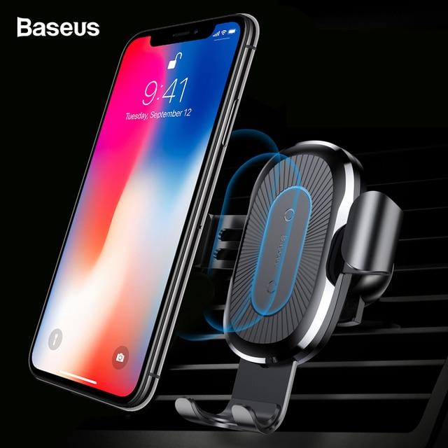 Cargador inalámbrico Qi para coche Baseus para iPhone XS Max X 8 10 w cargador inalámbrico rápido para coche samsung S10 Xiaomi mi 9