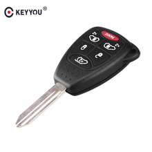 KEYYOU (5+1) 6 Buttons Remote Car Key Shell Cover FOB For CHRYSLER Town & Country Grand Caravan Sebring Dodge Jeep With Pad